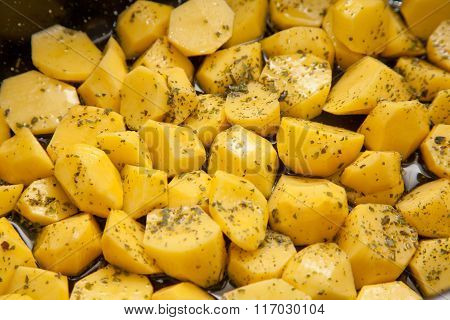 Raw Oven Roasted Herb Potatoes