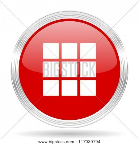 thumbnails grid red glossy circle modern web icon on white background