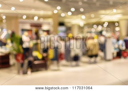 Abstract Blurred Background Of Department Store In Shopping Mall