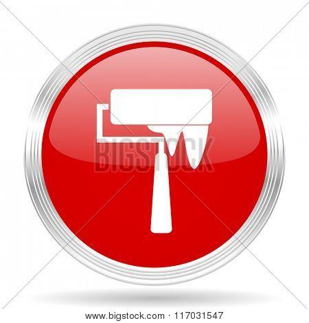 brush red glossy circle modern web icon on white background