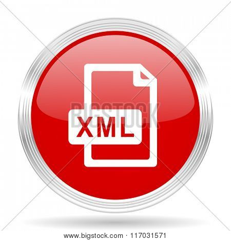 xml file red glossy circle modern web icon on white background