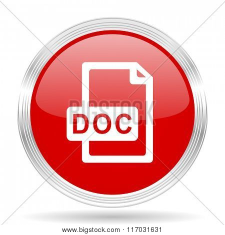 doc file red glossy circle modern web icon on white background