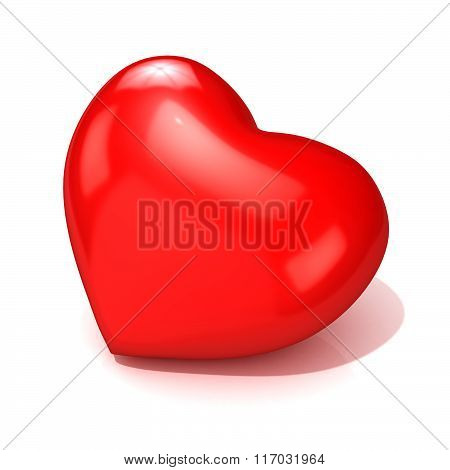 Big red heart. 3D Side view
