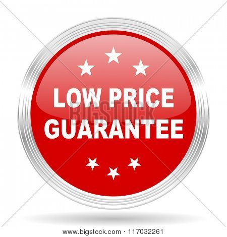 low price guarantee red glossy circle modern web icon on white background
