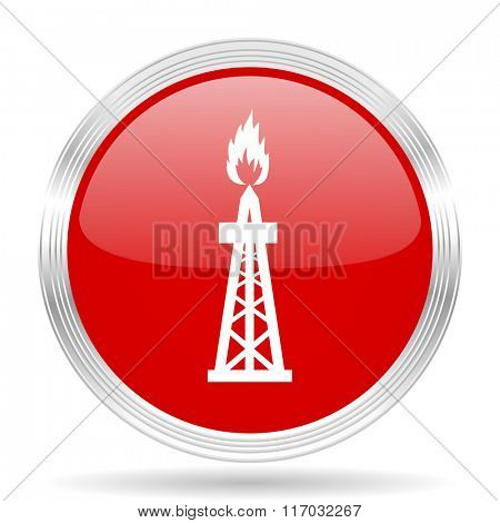 gas red glossy circle modern web icon on white background