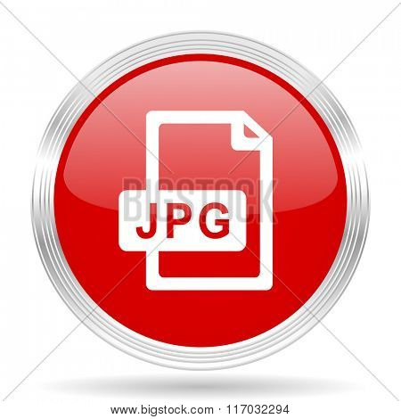 jpg file red glossy circle modern web icon on white background