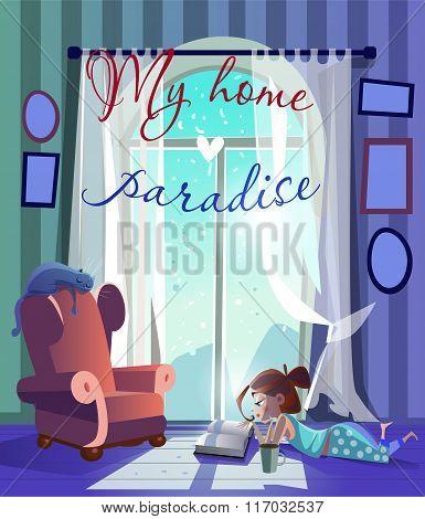 cartoon girl near the window read book