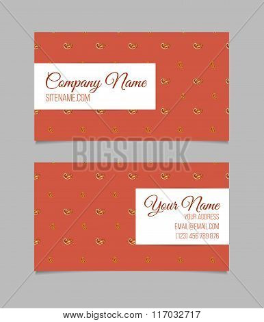 Business card template. Asian paisley