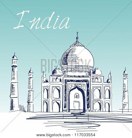 Hand Drawn Vector Illustration. World Famous Landmark Series: In