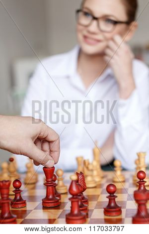 Man Hand Move With King On Chessboard