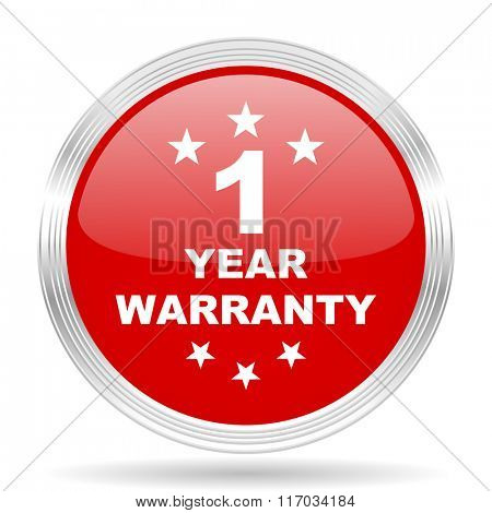 warranty guarantee 1 year red glossy circle modern web icon on white background