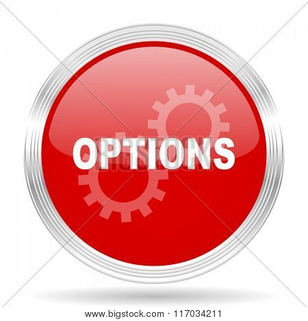 options red glossy circle modern web icon on white background