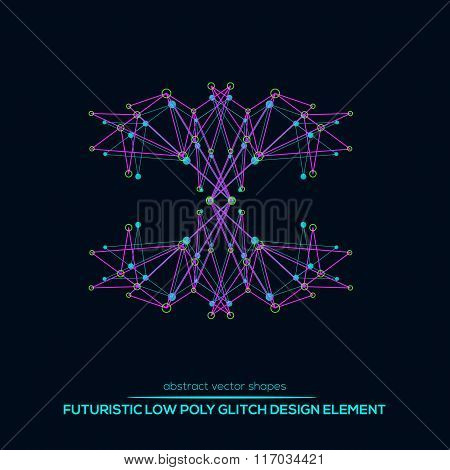 Abstract Vector Polygonal Futuristic Shapes. Glitch Design.