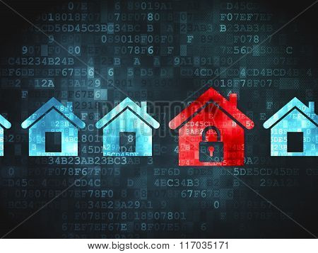 Protection concept: Home on digital background