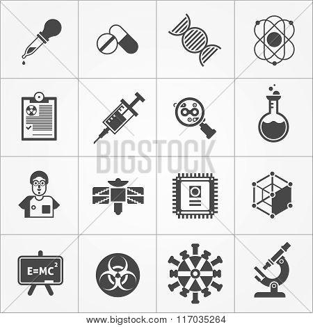 Science Black White Icons Set