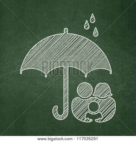 Security concept: Family And Umbrella on chalkboard background
