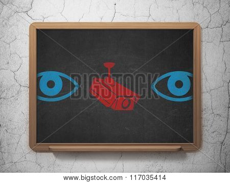 Safety concept: cctv camera icon on School Board background