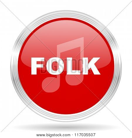 folk music red glossy circle modern web icon on white background