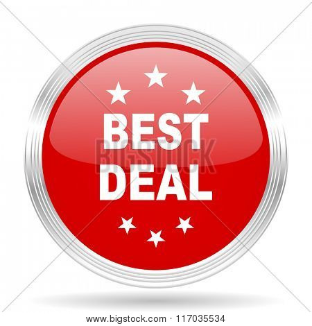 best deal red glossy circle modern web icon on white background