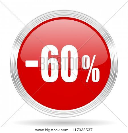 60 percent sale retail red glossy circle modern web icon on white background
