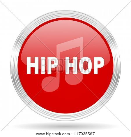 hip hop red glossy circle modern web icon on white background