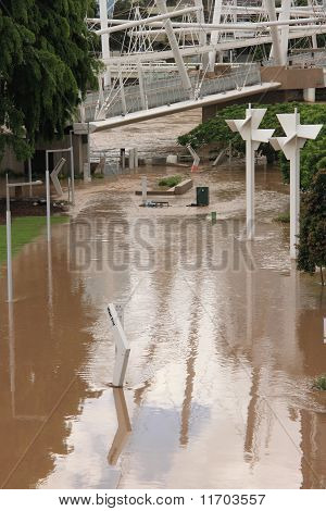 Southbank Flood Photos. Stock photo : Brisbane, Australia - Jan 13 : Flood Brisbane South Bank Area January