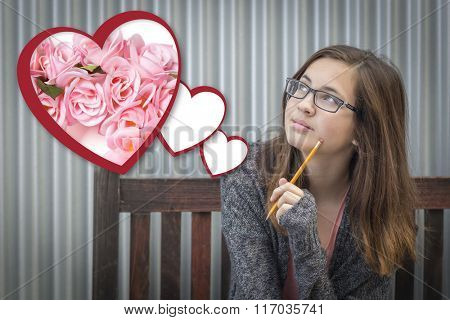 Cute Daydreaming Girl Next To Floating Hearts with Pink Roses.