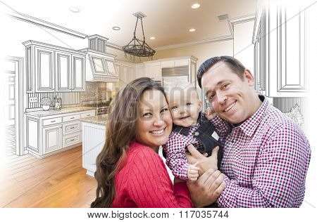 Happy Young Family Over Custom Kitchen Design Drawing and Photo Combination.