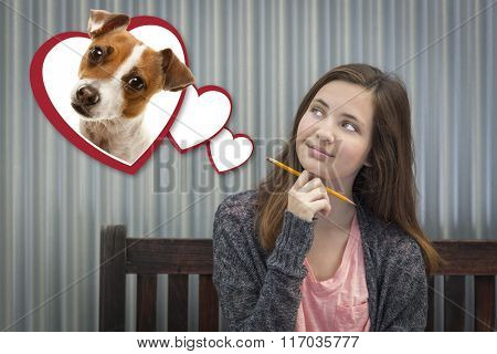 Cute Daydreaming Girl Next To Floating Hearts with Puppy Within.