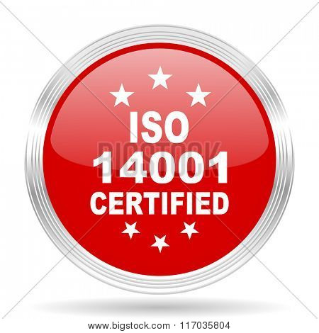 iso 14001 red glossy circle modern web icon on white background