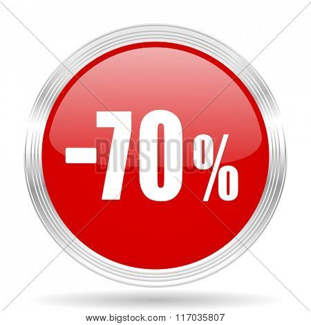 70 percent sale retail red glossy circle modern web icon on white background