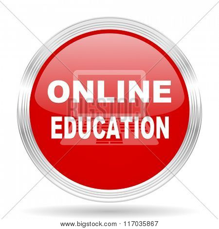online education red glossy circle modern web icon on white background