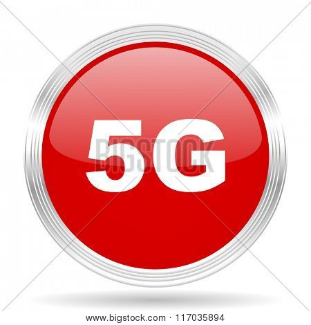5g red glossy circle modern web icon on white background