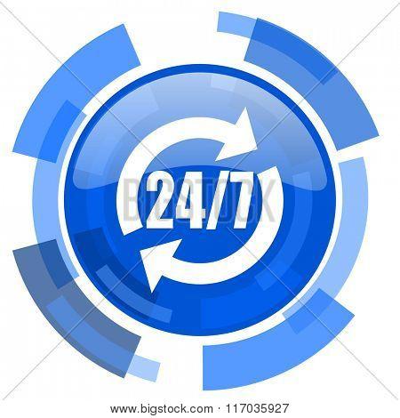 service blue glossy circle modern web icon