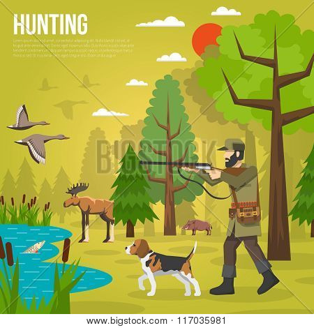 Flat Icons With Hunter Aiming At Ducks
