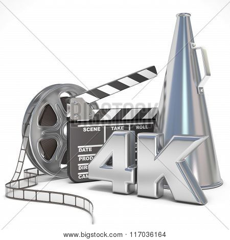 Video movie cinema production concept. Reels clapperboard megaphone and 4K. 3D