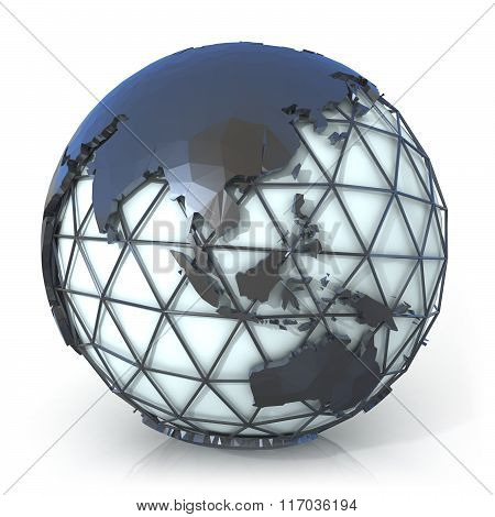 Polygonal style illustration of earth globe Asia and Oceania
