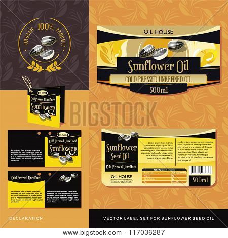 Sunflower Seed Oil vector label set
