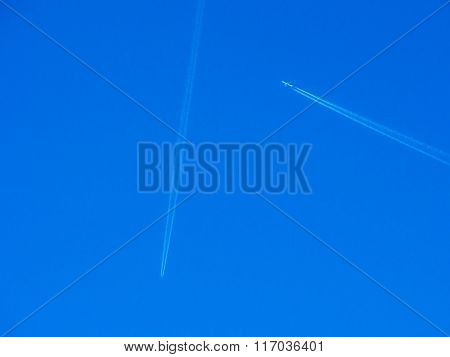 Crossing Paths Planes In Blue Sky