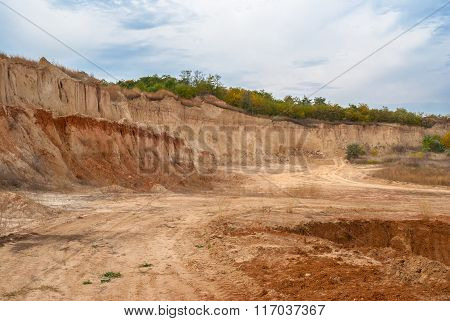 An open clay pit in central Ukraine