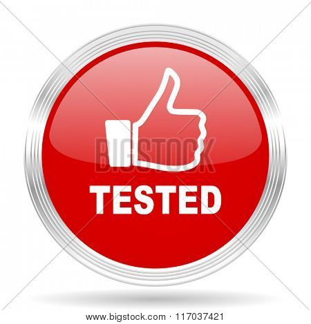 tested red glossy circle modern web icon on white background