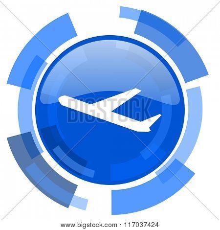 deparures blue glossy circle modern web icon