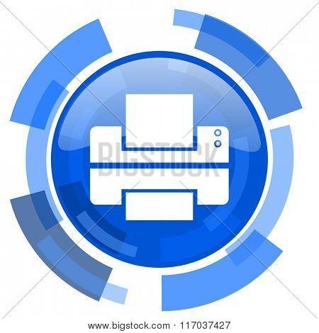 printer blue glossy circle modern web icon