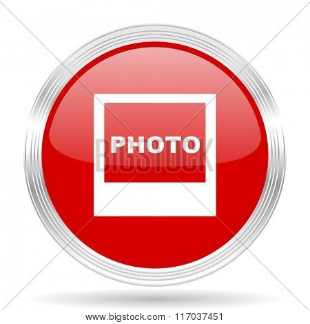 photo red glossy circle modern web icon on white background