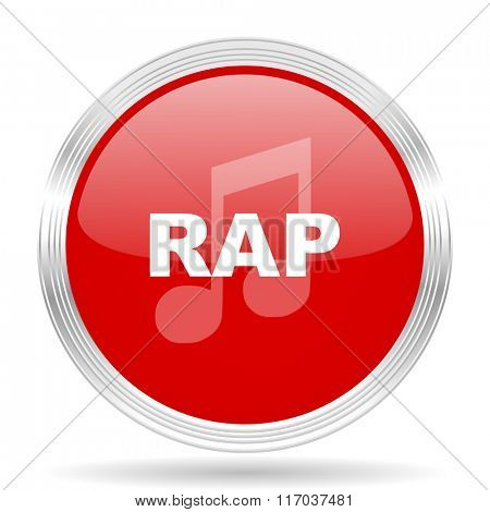 rap music red glossy circle modern web icon on white background
