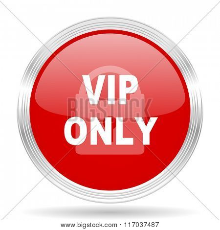 vip only red glossy circle modern web icon on white background