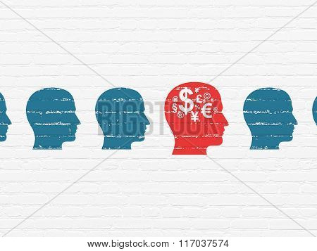 Finance concept: head with finance symbol icon on wall background
