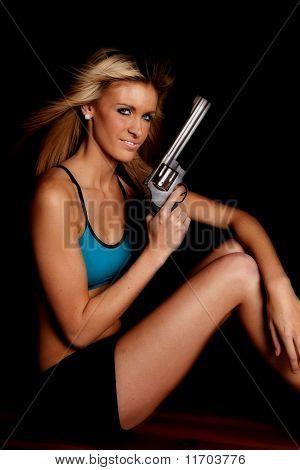 Frau blau Halter Gun Black Smile