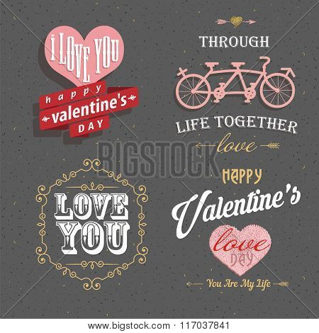 Valentine's Day Set - Labels, Emblems And Other Decorative Elements For Greeting Card, Web Banner, B