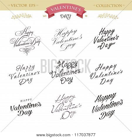 Romantic Valentines Day Lettering Set. Calligraphy Postcard Or Poster Graphic Design Lettering Eleme